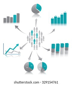 Vector illustration of market research, symbolized by population described through chart.