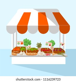 Vector illustration of a market stall with fresh and regional vegetables and herbs