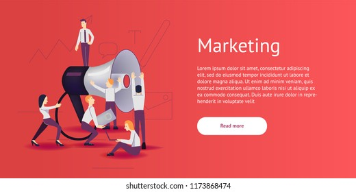 Vector illustration - marketing and advertising in flat style.