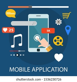 "Vector illustration of marketing & information concept with ""mobile application"" mobile and application icon."