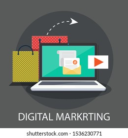 "Vector illustration of marketing & strategy concept with ""digital marketing"" communication and advertising icon."