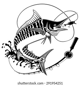 Vector illustration of marline fish in waves with fishing rod. Vector illustration can be used for creating logo and emblem for fishing clubs, prints, web and other crafts.