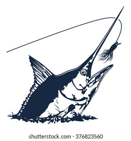 Vector illustration of marline fish in waves with fishing rod on retro blue paper. Vector illustration can be used for creating logo and emblem for fishing clubs, prints, web and other crafts.