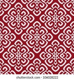 Vector illustration of maroon seamless damask pattern