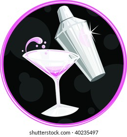 a vector illustration of a martini and shaker