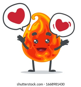 vector illustration of mascot or fire character bring love