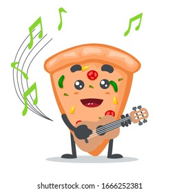 vector illustration of mascot or pizza character playing guitar