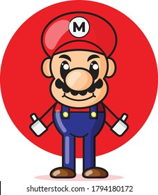 Vector Illustration of Mascot Super Mario. Cute character super mario. Suitable for graphic video game, mascot logo, and toy store business.