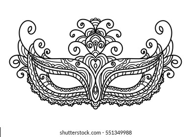 vector, illustration, mask, holiday, carnival, masquerade, Mardi Gras, coloring page