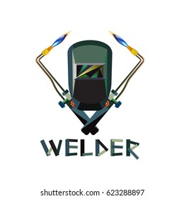 Vector illustration of Mask And Welding Torch with flame