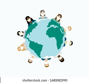 Vector illustration with masked people who stand around the planet. Symbol of Covid-2019. Women and men of different races are next to each other.