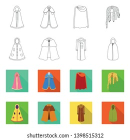 Vector illustration of material and clothing logo. Set of material and garment vector icon for stock.