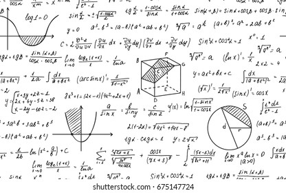 Vector illustration of Math education. Seamless pattern with handwritten formulas, tasks, plots, calculations and geometrical figures. Endless texture