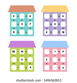 Vector illustration. Math game for preschool and school age children. Count and insert the correct numbers. Addition, subtraction. Set houses with windows.