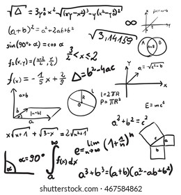 Vector illustration of mathematics doodle. Isolated on white background
