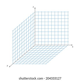 Vector illustration of mathematics triaxial system of coordinate
