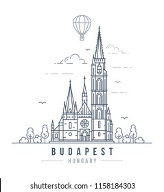 Vector illustration of the Matthias Church in Budapest, Hungary. Line art style drawing of the famous landmark building in the Hungarian Capitol.