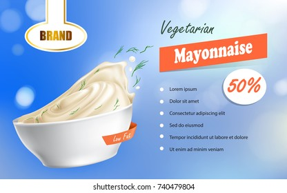 Vector illustration of a mayonnaise brand in a plate with a low fat content and text next to it in a realistic style. Advertisement, sample, template.