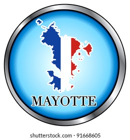 Vector Illustration for Mayotte, Round Button.