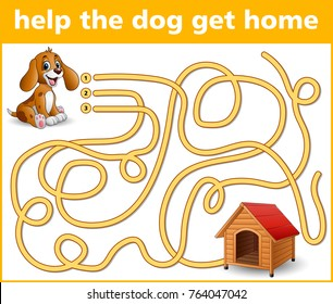 Vector illustration of Maze Game: Help the dog get home