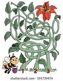 Vector illustration, maze, help the bee reach the flower, card concept.