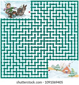 Vector illustration, maze, help the boy to reach the house, card concept.