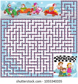 Vector illustration, maze, help the cars reach the finish point, card concept.
