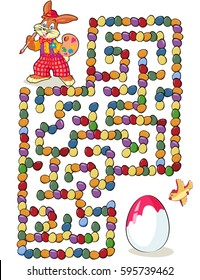 Vector illustration, maze, help the Easter bunny paint the Easter egg, card concept.