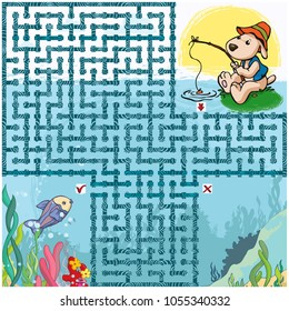 Vector illustration, maze, help the fisher reach the fish area, card concept.