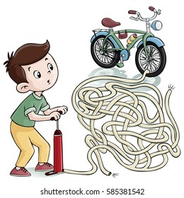 Vector illustration, maze, help the kid inflate his bike wheels, card concept.