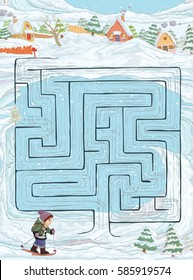 Vector illustration, maze, help the kid reach home, card concept.