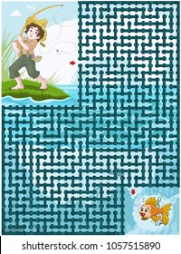 Vector illustration, maze, help the little boy catch the golden fish, card concept.