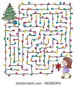 Vector illustration, maze, help the little girl reach the Christmas tree, card concept.