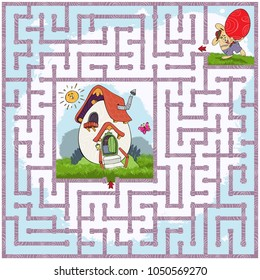 Vector illustration, maze, help the rabbit with the Easter egg reach his house, card concept.