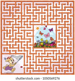 Vector illustration, maze, help the rabbit reach the meadow with butterflyes.