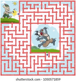 Vector illustration, maze, help the rabbit find the way to the wolf, card concept.