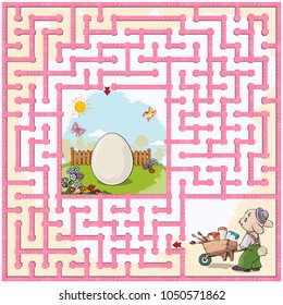 Vector illustration, maze, help the rabbit reach the Easter egg, so he can paint it, card concept.