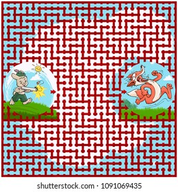 Vector illustration, maze, help the rabbit to catch the fox, card concept.