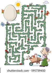 Vector illustration, maze, help the rabbit reach the Easter egg so he can paint it, card concept.