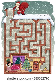 Vector illustration, maze, help Santa Claus reach the kid room, to leave his gifts, card concept.
