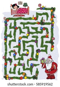 Vector illustration, maze, help Santa Claus to find the way to the kid's room.