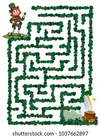Vector illustration, maze, help St. Patrick reach the pot with gold coins, card concept.