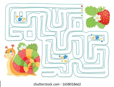 Vector illustration of maze (labyrinth) educational game. Animals maze for children. Animals vector. Logical game for childrens. Children's cartoon