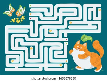 Vector illustration of maze (labyrinth) educational game. Cat maze for children. Animals cartoon. Logical game