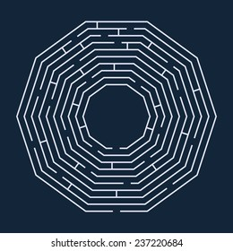 Vector illustration of maze / labyrinth. Isolated on blue background, eps 8.