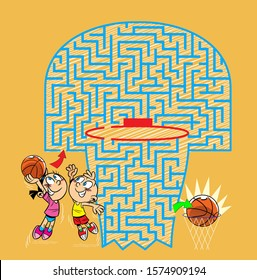 In the vector illustration, a maze puzzle where children must throw a basketball in the basket