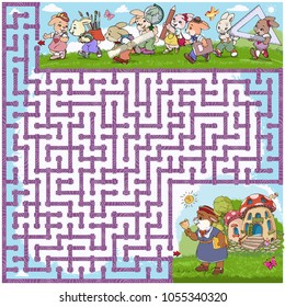 Vector illustration, maze, show the little rabbits the road to school, card concept.