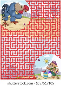 Vector illustration, maze, show the rooster who is painting the eggs, card concept.
