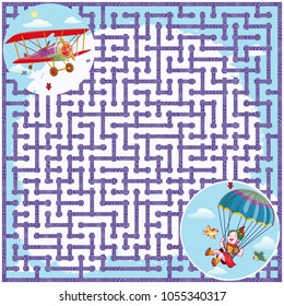Vector illustration, maze, where from the girl jumped from the plane, card concept.
