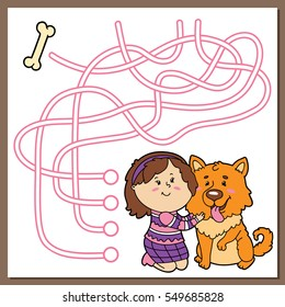 Vector illustration of maze(labyrinth) educational game with cute cartoon girl and dog for children